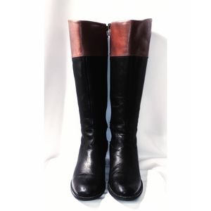 Franco Sarto Black/Brown Tall Riding Boots size 6